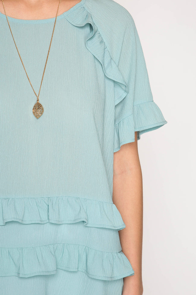 Seafoam Ruffled Top