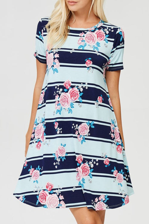Mint and Navy striped dress with pink floral tones