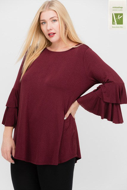 Bamboo Ruffle Layered Sleeve Top - Southern Chique Boutique