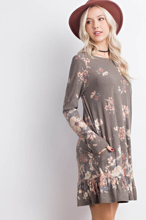 Olive Floral Tiered Hem Dress with Pockets - Southern Chique Boutique