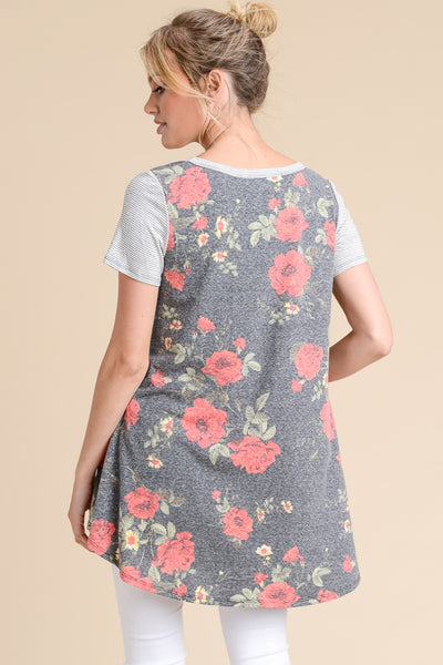 Floral Blend short sleeve tunic top