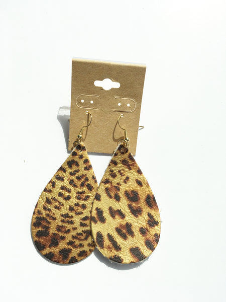Metallic Leopard Teardrop Leather Earrings