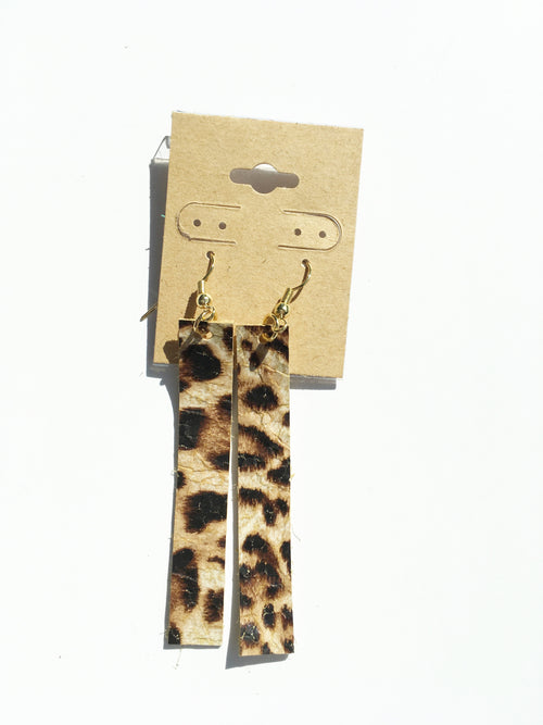 My Lovely Leopard Bar Leather Earrings