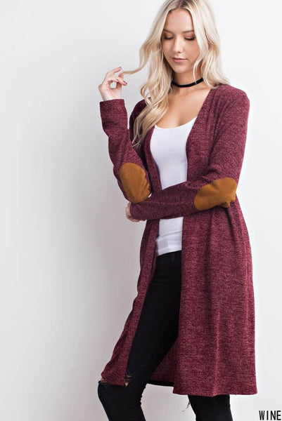 Two Tone Elbow Patched Cardigan with Pockets - Southern Chique Boutique