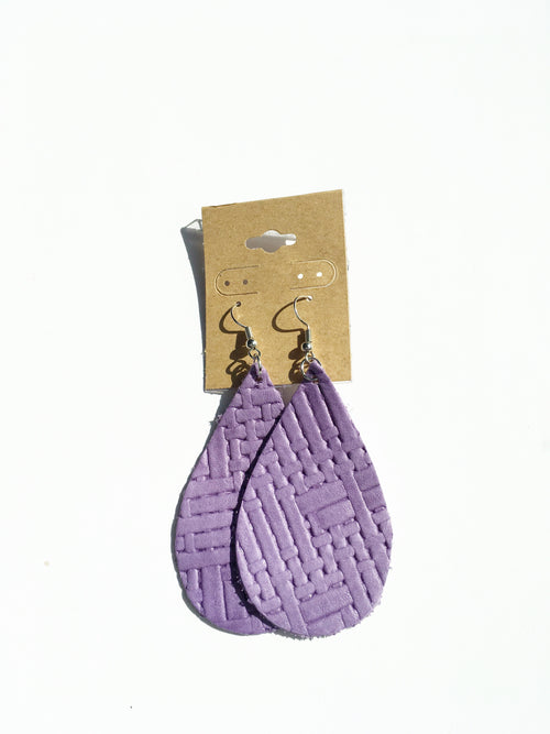 Basketweave  Lavender Leather Earrings