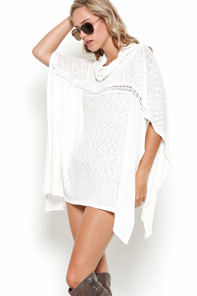Lightweight Poncho with Wide Open Sleeves