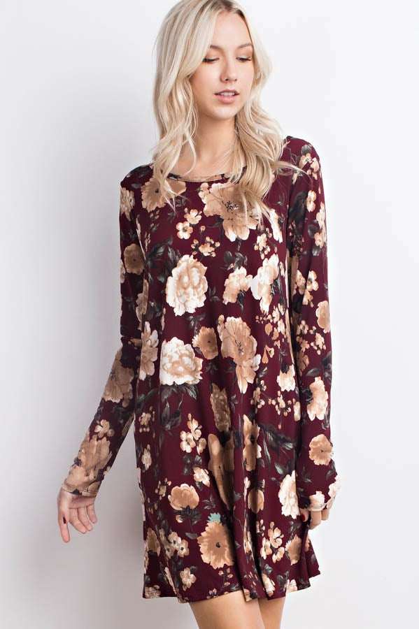 Wine Floral Crisscross Dress with Pockets - Southern Chique Boutique
