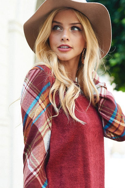 Sweater with Plaid Sleeves - Southern Chique Boutique