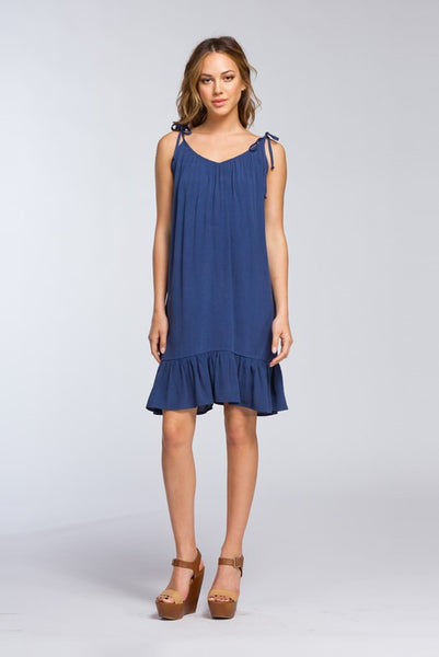 Navy Spaghetti Strap Dress