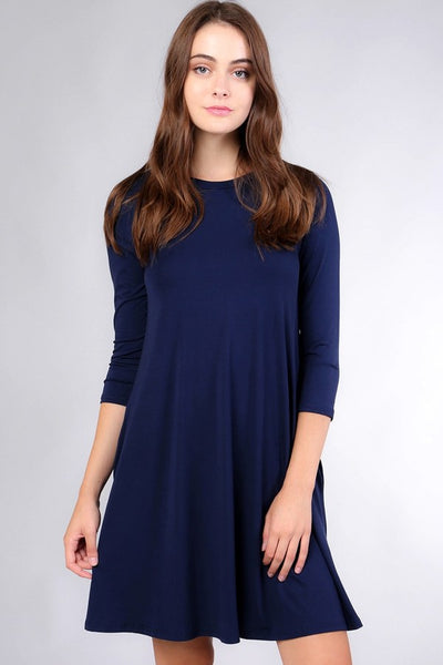 3/4 Sleeve Navy Modal Dress - Southern Chique Boutique