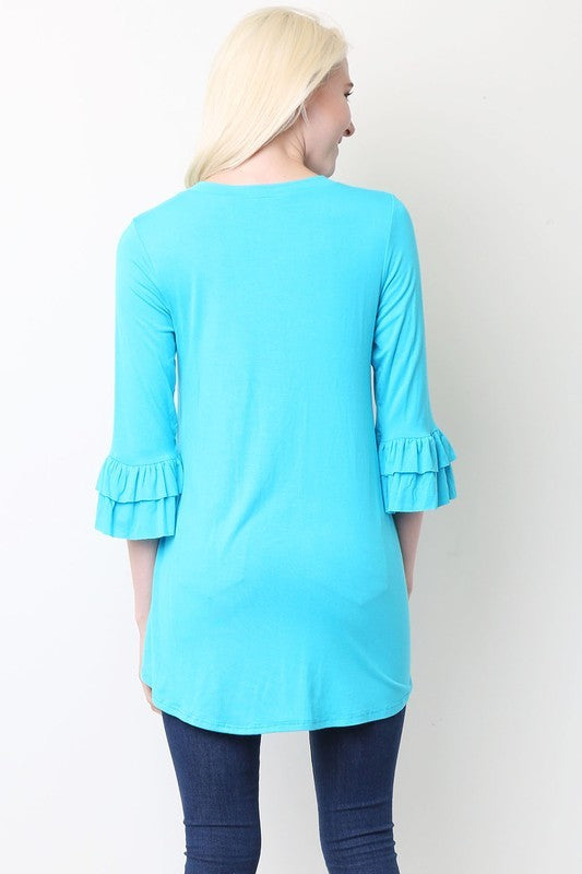 3/4 Ruffled Sleeve Baby Doll Top