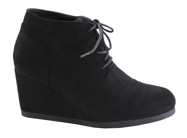 Black Suede Lace Up Wedge Heel Booties - Southern Chique Boutique