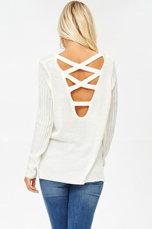 Ivory Crisscross Sweater - Southern Chique Boutique