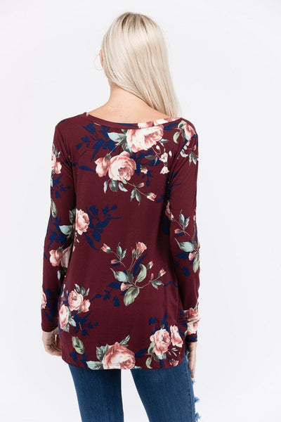 Floral Long Sleeves with Front Knot - Southern Chique Boutique