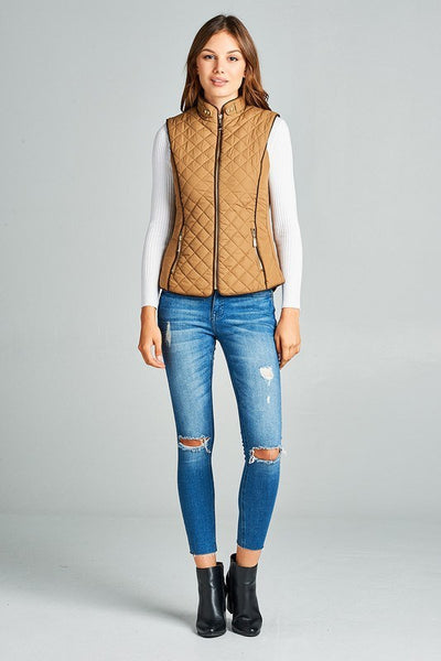 Quilted Vest with Padded Faux Jacket - Southern Chique Boutique