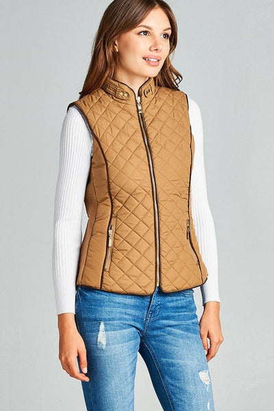 Quilted Vest with Padding - Southern Chique Boutique