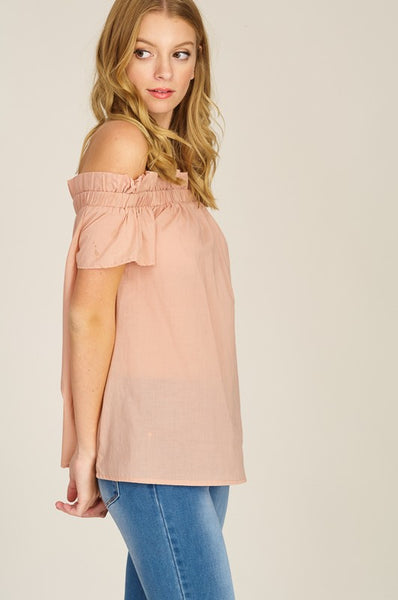 Ruffled Off the Shoulder Pink Top