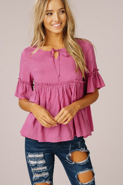 Babydoll Top with Bell Sleeves
