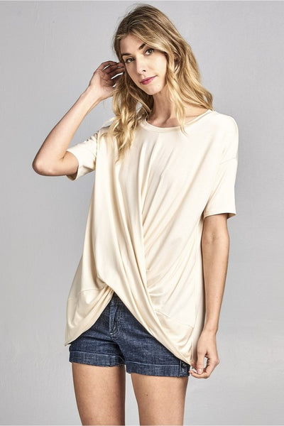 Round Neck Criss Cross Wrap Front Detail Tunic Top