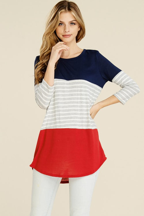 Short Sleeve Navy and Red Color Block Tunic
