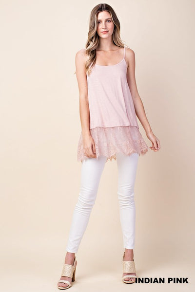 Sleeveless Pink Yoke Dress with Lace