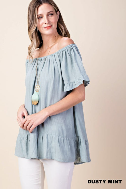 Dusty Mint Double Ruffle Top