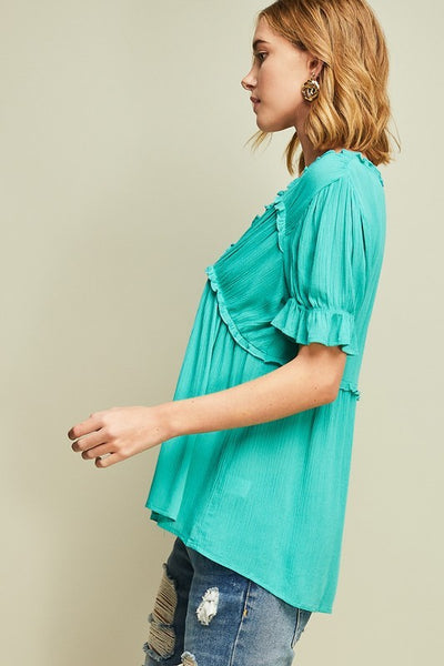 Jade V-Neck top with Ruffles