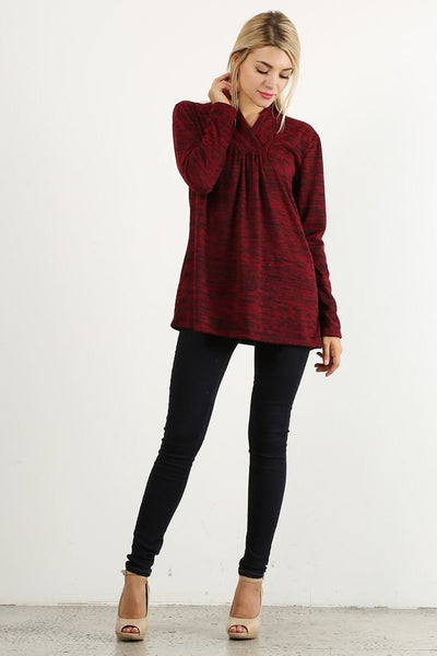 Wine Color Shawl Collar Swing Tunic - Southern Chique Boutique