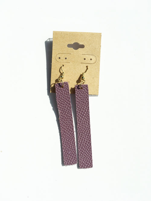Purple Bar Leather Earrings