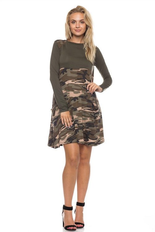 Camouflage Long Sleeve Dress - Southern Chique Boutique