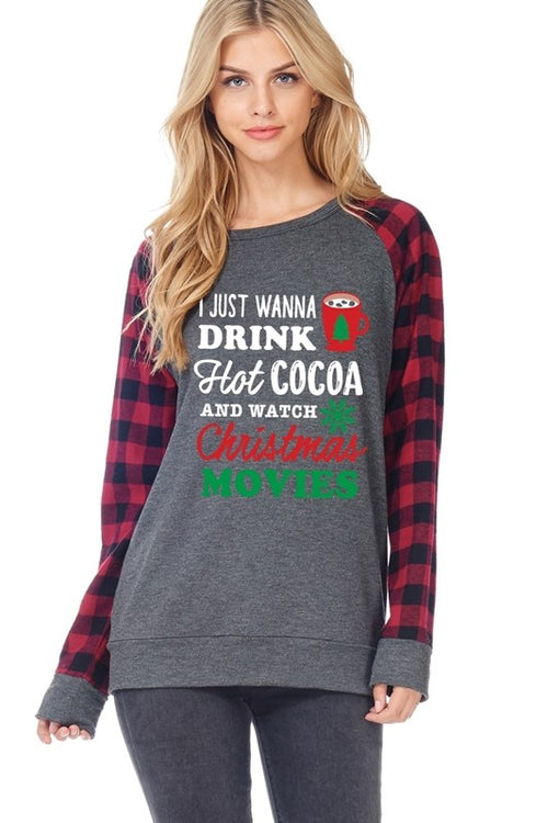 Plaid Sleeves Christmas Movies Graphic Tee - Southern Chique Boutique