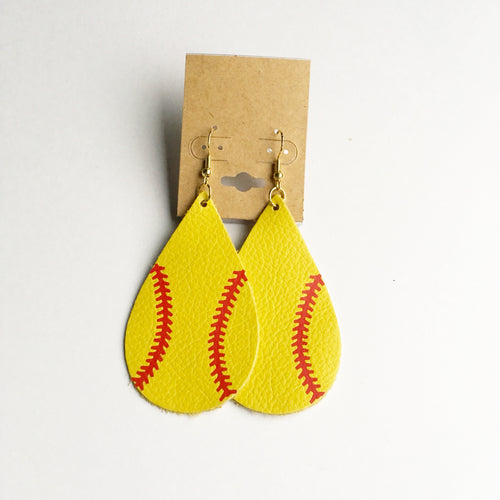 Softball Leather Earrings