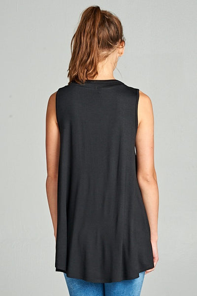 Sleeveless Tank with Crisscross Detail