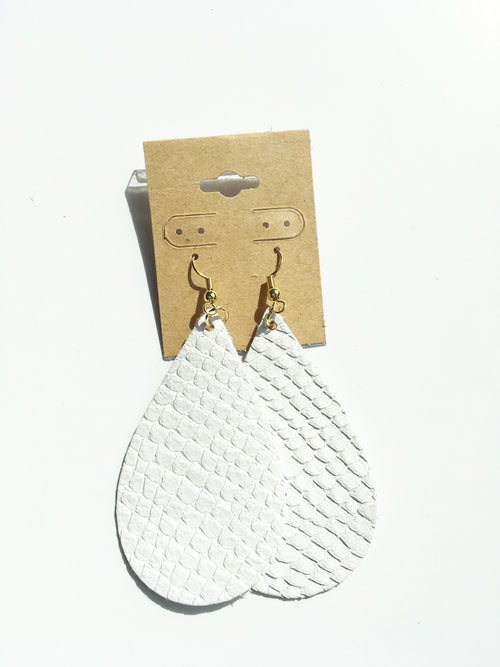 Embossed White Leather Earrings