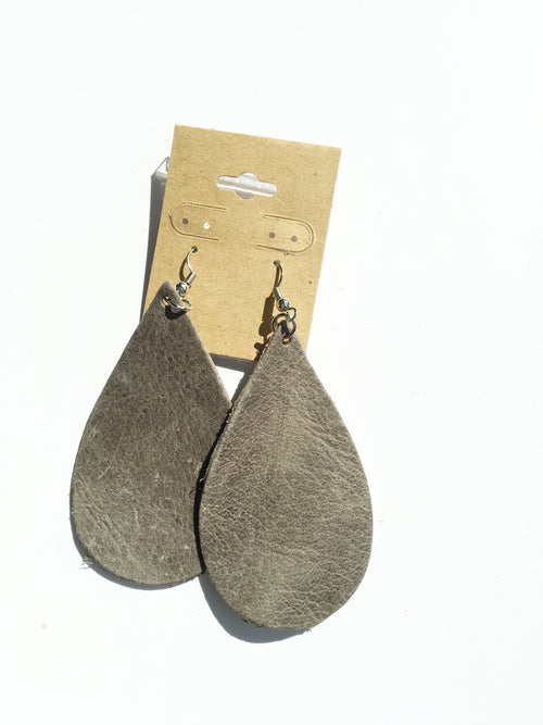 My Favorite Grey Leather Earrings