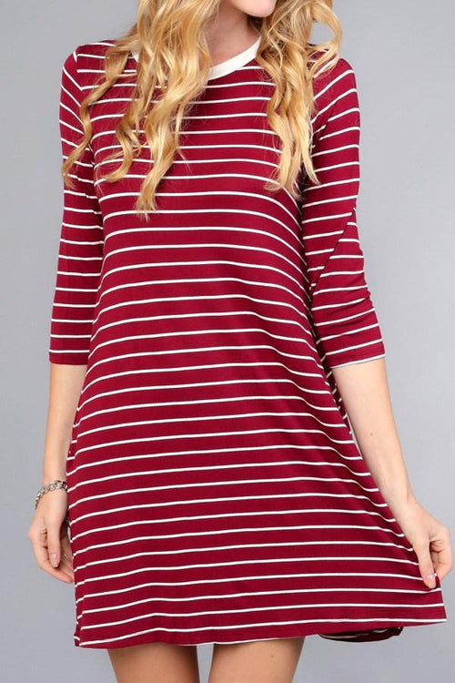 Rounded Neck Stripes Swing Dress - Southern Chique Boutique
