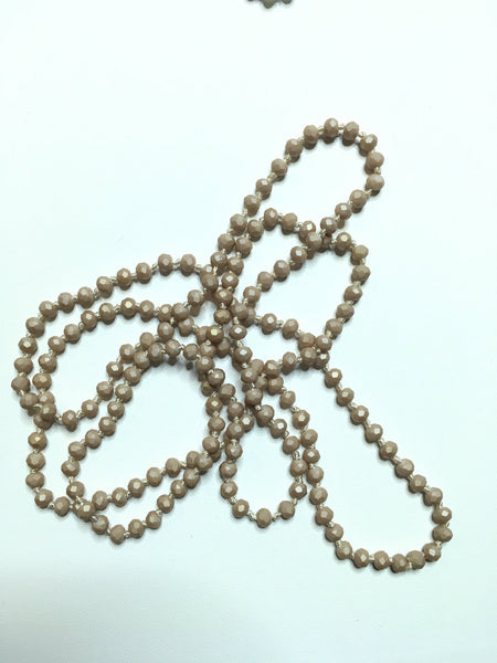 Long Beaded Necklace with Camel Tones - Southern Chique Boutique