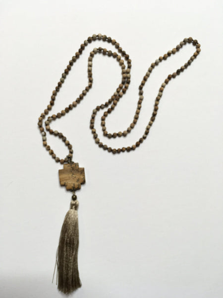 Brown Cross Beaded Tassel Necklace - Southern Chique Boutique