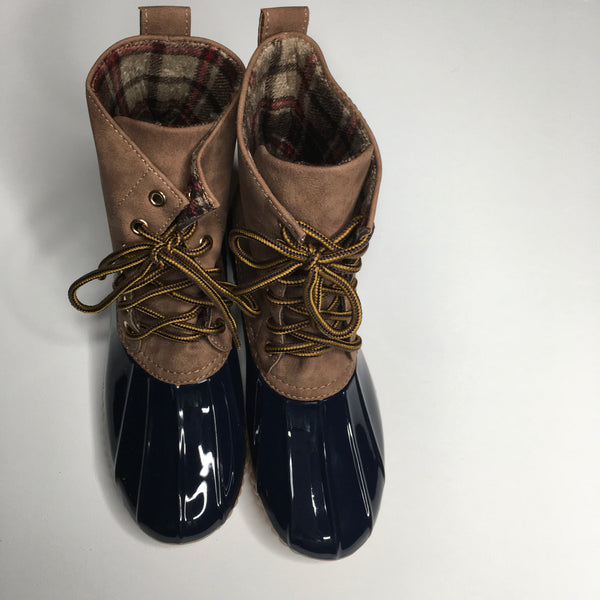 Plaid Lined Navy Duck Boots - Southern Chique Boutique