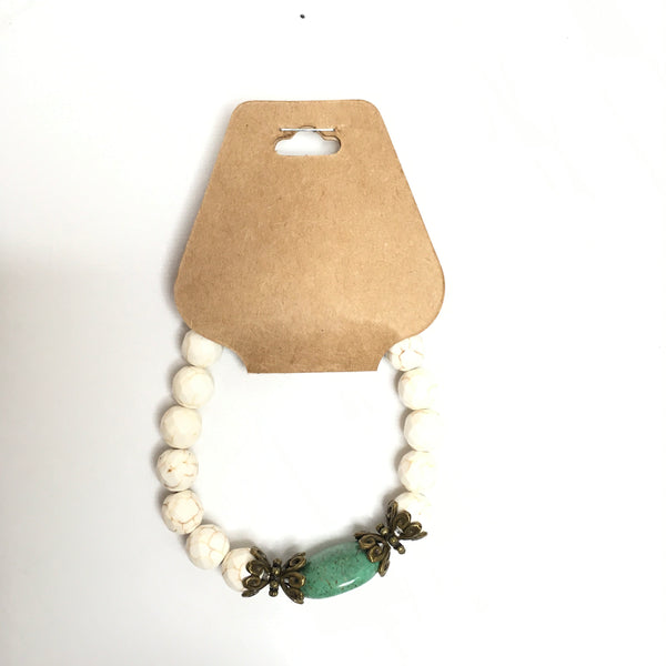 White Stone Beaded Bracelet With Gemstone - Southern Chique Boutique