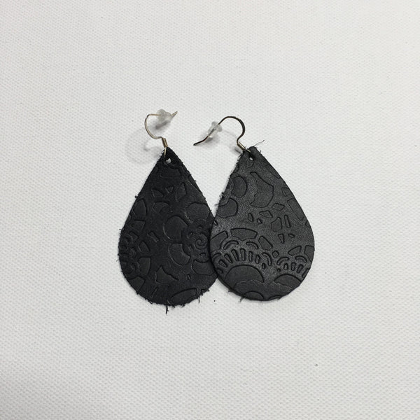 Kid's Leather Embossed Earrings - Southern Chique Boutique