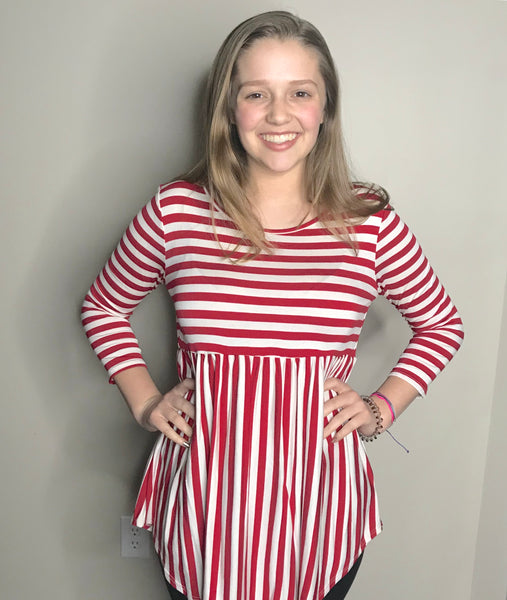 Red Striped  Rayon Tunic Top