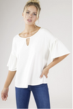 Keyhole Rayon Ruffle Sleeve Top - Southern Chique Boutique