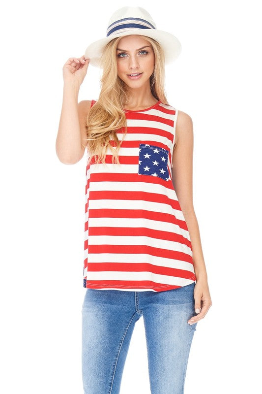 Stars and Stripes Flag Print Sleeveless Shirt