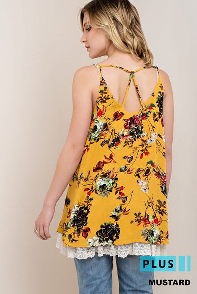 Mustard Floral Top with Lace Bottom