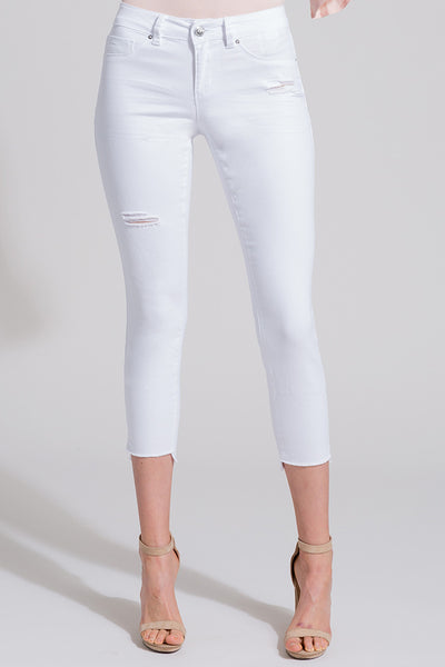 White denim High Low Hem with Side Slit