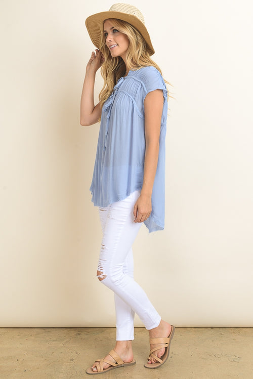 V-Neck top with drawstring bows