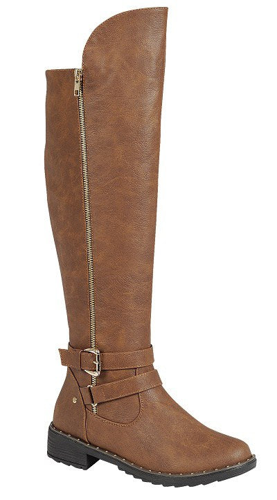 Brown Leather Knee High Boots - Southern Chique Boutique