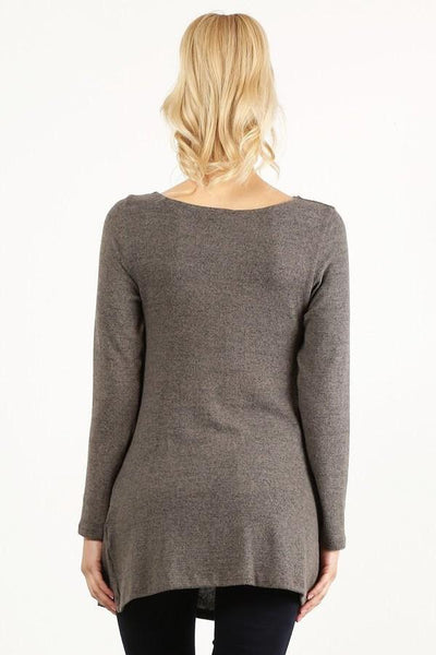 Charcoal Mocha Knit Top with Buttons - Southern Chique Boutique