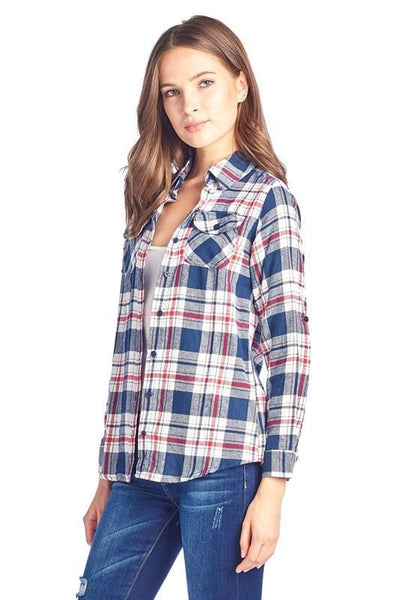 Blue Plaid Flannel Shirt - Southern Chique Boutique